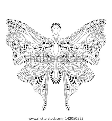 beautiful butterfly made of lines - stock vector