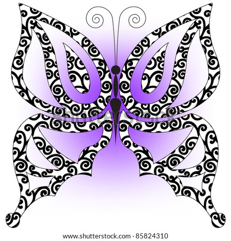 beautiful butterfly of black curls on a lavender background