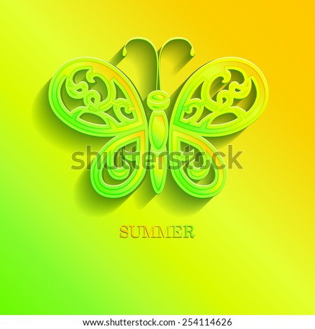 Beautiful butterfly with openwork wings cut from paper. 3d effect with shadow