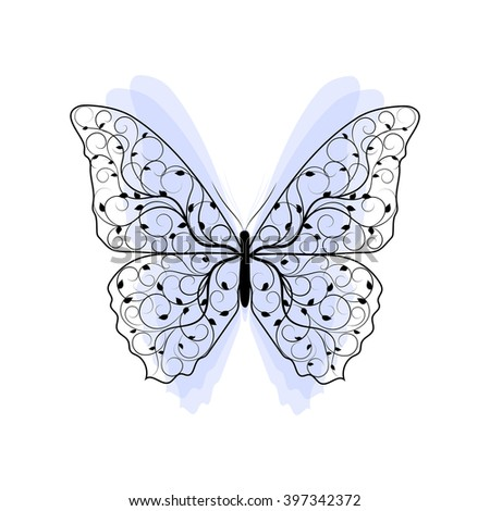 Beautiful butterfly with plant pattern and blue wings isolated on white background. - stock vector