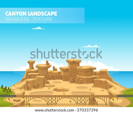 Beautiful canyon landscape. Vector illustration - stock vector
