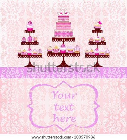 beautiful card with a damask textured cakes and cupcakes and love birds