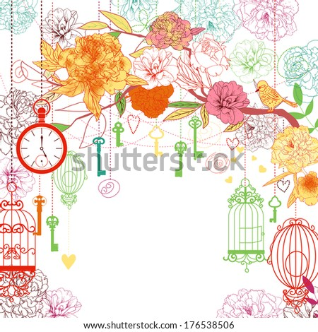 Beautiful card with birdcages, clock, keys, peonies. - stock vector
