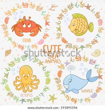 Beautiful card with cartoon cute fish, whale, octopus, and crab, in sea frame - stock vector