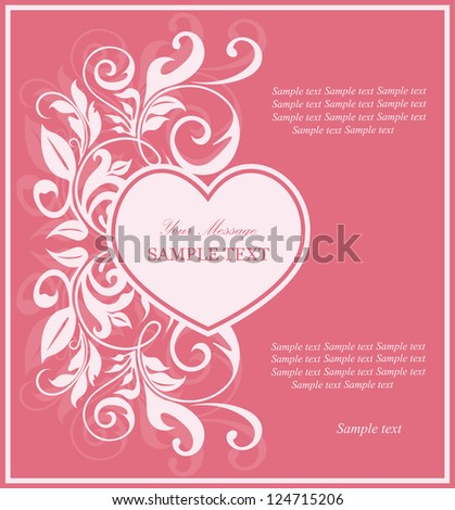 Beautiful card with heart and floral elements.