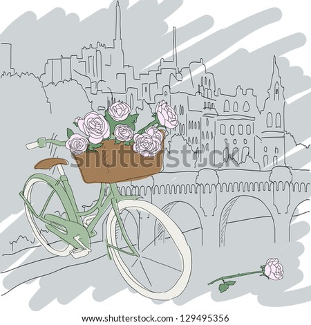 Beautiful card with pretty bicycle and pink roses on city background - stock vector