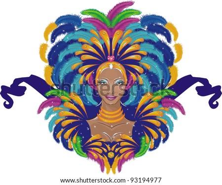 Beautiful carnival girl - stock vector
