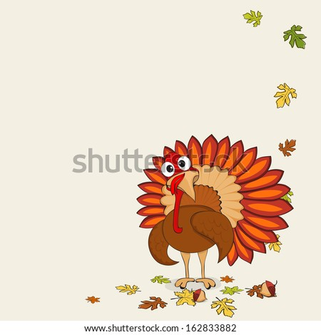Beautiful, cartoon of turkey bird and autumn leaves for Happy Thanksgiving celebration, can be use as flyer, poster or banner.