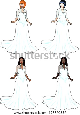 Beautiful caucasian asian latin and african woman in traditional white wedding dress isolated cartoon illustrations - stock vector