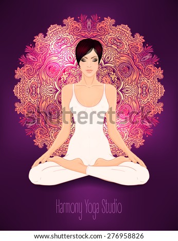 Beautiful Caucasian Brunette Girl sitting in Lotus pose with ornate mandala on background. Vector illustration. Spa consent, yoga studio, or natural medicine clinic.  - stock vector
