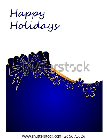 Beautiful celebratory background with blue flowers and bow. Vector illustration - stock vector