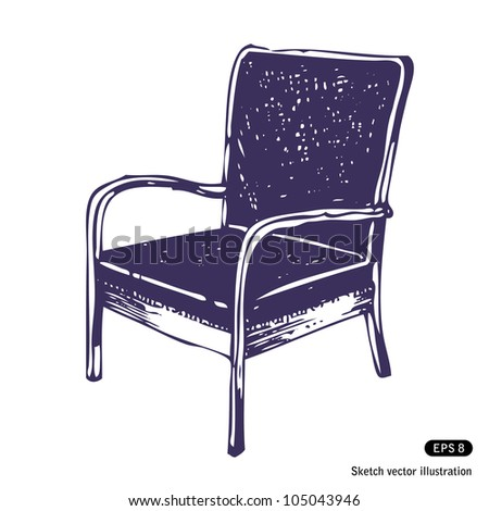 Beautiful chair. Hand drawn sketch illustration isolated on white background - stock vector
