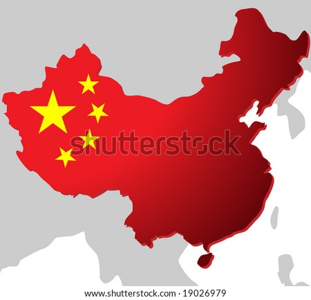 Beautiful chart of China - stock vector