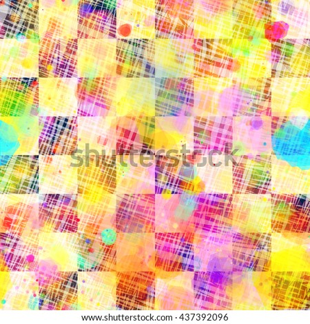 Beautiful checkerboard pattern with watercolor effect. Motley seamless abstract background is divided into cells. Stains and blots randomly mixed. Light hatches over, as a canvas. Colorful texture. - stock vector