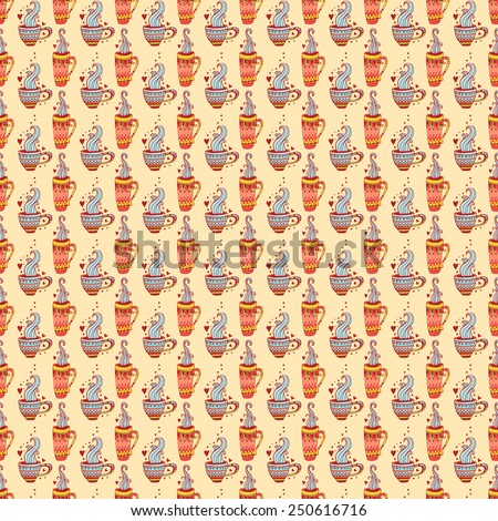 Beautiful, cheerful pattern with hand-drawn cups. Cup of hot tea and coffee. Bright and saturated pattern on a white background. Suitable for tissue, packaging, cafes, clothing, paper. - stock vector