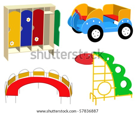 Beautiful children's furniture on a white background - stock vector
