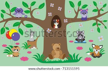 Beautiful Childrens Room Wallpaper Design Kids Stock Vector