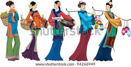 Beautiful Chinese sellers with goods over white background. each woman is grouped - stock vector