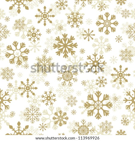 Beautiful Christmas background. Golden snowflakes on white background. Vector seamless pattern. May be used as gift paper - stock vector