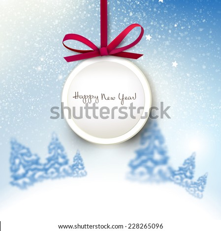 Beautiful Christmas background with blurred Christmas trees. Label with red bow. Starry sky. Vector Illustration - stock vector