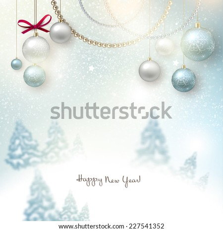 Beautiful Christmas background with blurred Christmas trees. White winter landscape. Starry sky. Vector Illustration