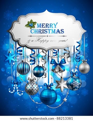 Beautiful christmas background with place for text. Vector illustration. - stock vector