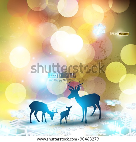 Beautiful Christmas background with reindeer and place for text. - stock vector