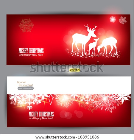 Beautiful Christmas banners with reindeer and place for text. - stock vector