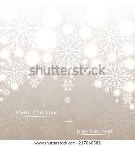 Beautiful Christmas beige background with sparkles and snowflakes. Vector  illustration - stock vector