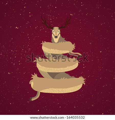 Beautiful Christmas card design with stylised reindeer Christmas tree with a cute deer on wintry snow on the red background - stock vector