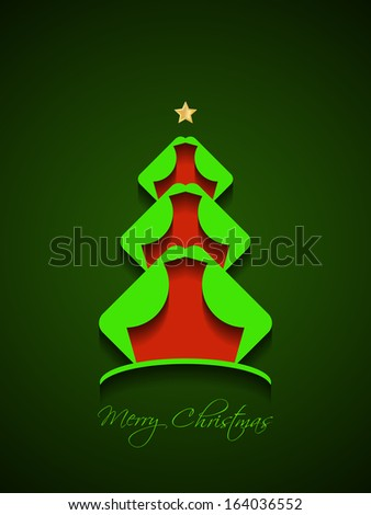 beautiful Christmas card with creative Christmas tree on green color background. - stock vector