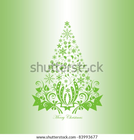 Beautiful christmas decoration with floral and snowflakes - stock vector