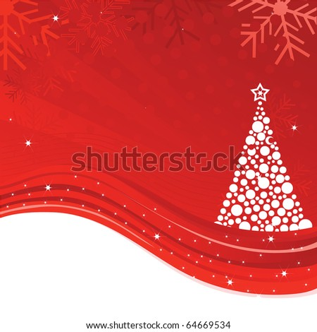 Beautiful Christmas illustration with tree, snowflakes and stars. vector - stock vector