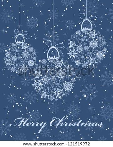 Beautiful Christmas (New Year) card. Vector illustration. - stock vector