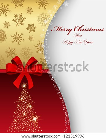 Beautiful Christmas (New Year) card. Vector illustration with mesh. - stock vector