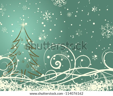 Beautiful Christmas (New Year)retro  card. Vector illustration.