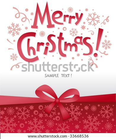 beautiful Christmas postal with congratulation illustration - stock vector