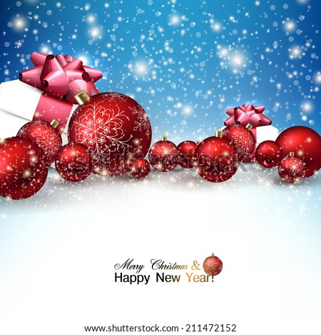 Beautiful Christmas red balls and gifts on snow.  Red Xmas baubles. Vector - stock vector