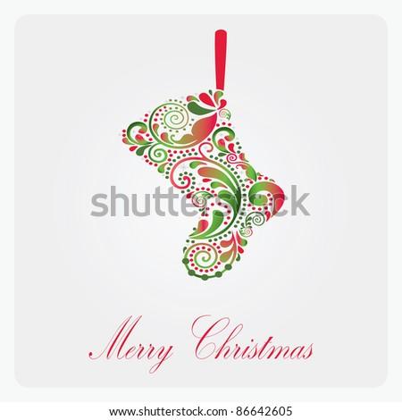 Beautiful Christmas sock. - stock vector