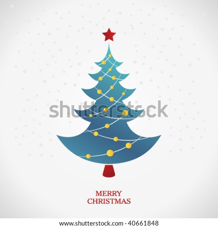 beautiful christmas tree illustration - stock vector
