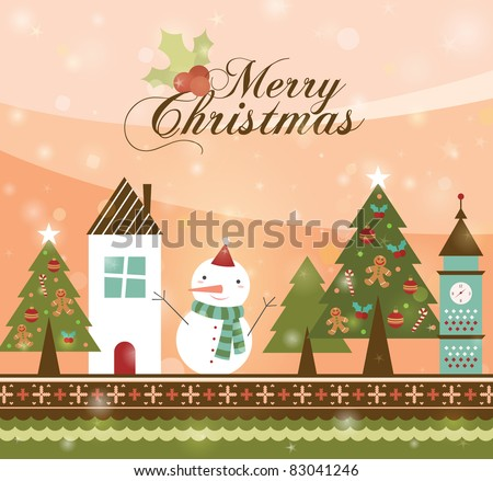 Beautiful Christmas Tree in Town illustration. Retro Christmas Card.b - stock vector