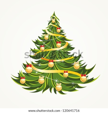 Beautiful Christmas tree isolated - stock vector