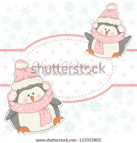 Beautiful Christmas winter card with penguins in hats and scarfs - stock vector