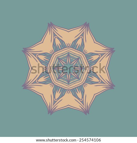 Beautiful circular Indian pattern, mandala, in muted blue and beige on a blue background. - stock vector