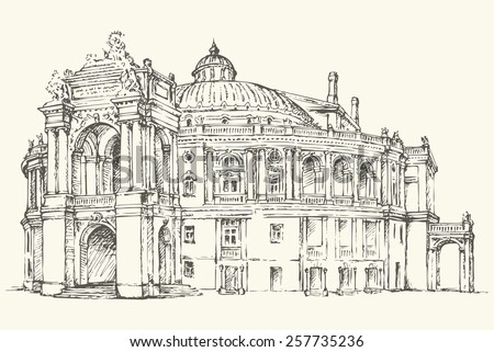Beautiful classic Odesa National Academic Theatre of music Opera and Ballet, Ukraine. Monochrome freehand ink drawn backdrop sketchy in scribble antiquity style pen on paper with space for text on sky - stock vector