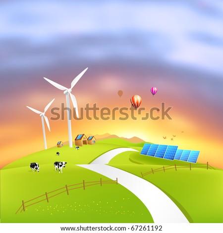 Beautiful Clean Energy - vector illustration - stock vector