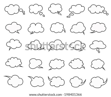 beautiful clouds speak bubbles set on white background, clouds speak icon - stock vector