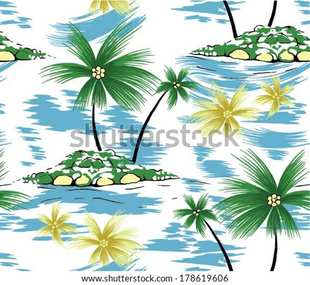 beautiful coconut palm tree. vector isolated and blue Sky - stock vector