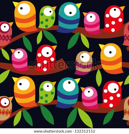 Beautiful collection of colorful birds isolated on dark background, Seamless pattern, repeatable pattern - stock vector