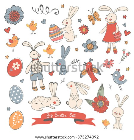 Beautiful collection of Easter related graphic elements - stock vector